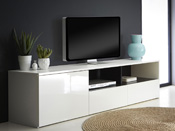 "Meuble TV ""Malia"" - 1 porte - 182,9 x 41.6 x 45,7 cm - Blanc brillant"
