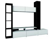 "Paroi TV ""Wall"" - 211,0 x 173,5 x 43,7 cm - Ébène / blanc perle"