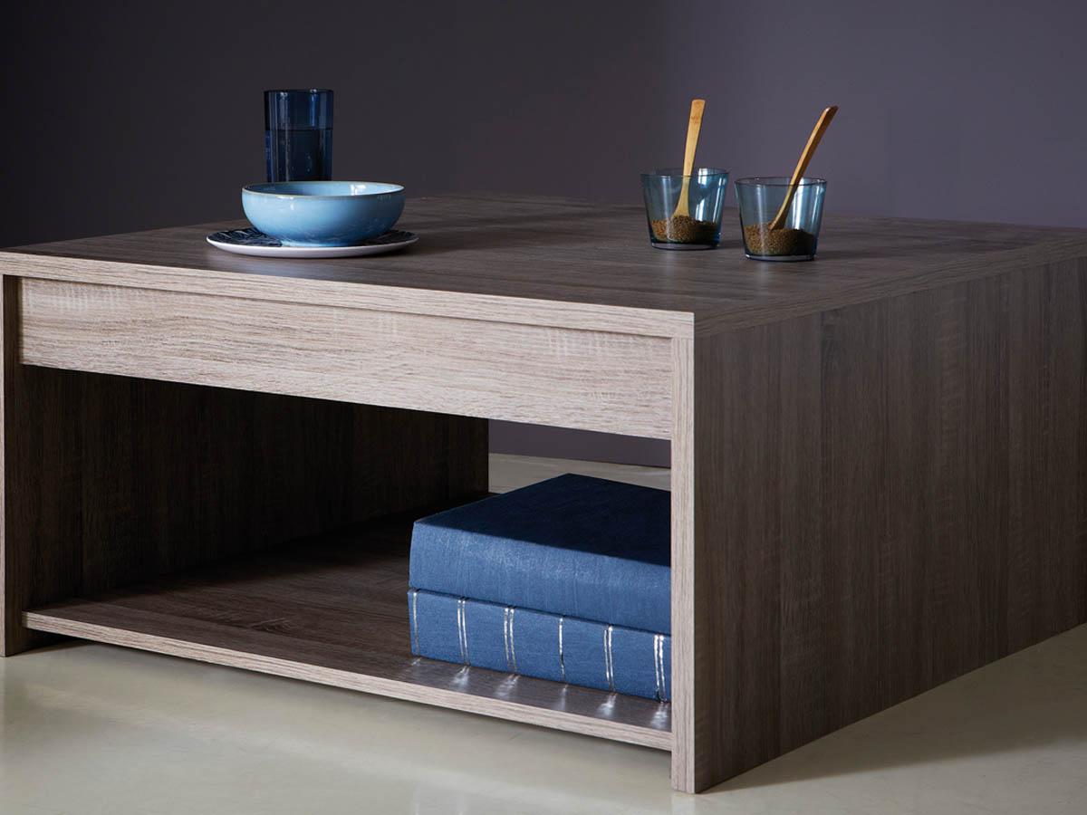 Table basse Steen - 80 x 80 x 40 cm - Chêne foncé