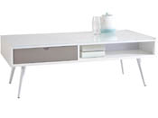 "Table basse ""Domino"" - 110 x 55 x 38 cm - Gris/Blanc"