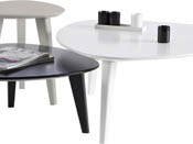 "Lot de 3 tables basses ""Stone"" - 80 x 80 x 35 cm - Blanc/Noir/Gris"
