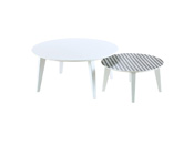 "Set de 2 Tables basses ""Round"" - 78 x 35 x 78 cm - Pin blanc"