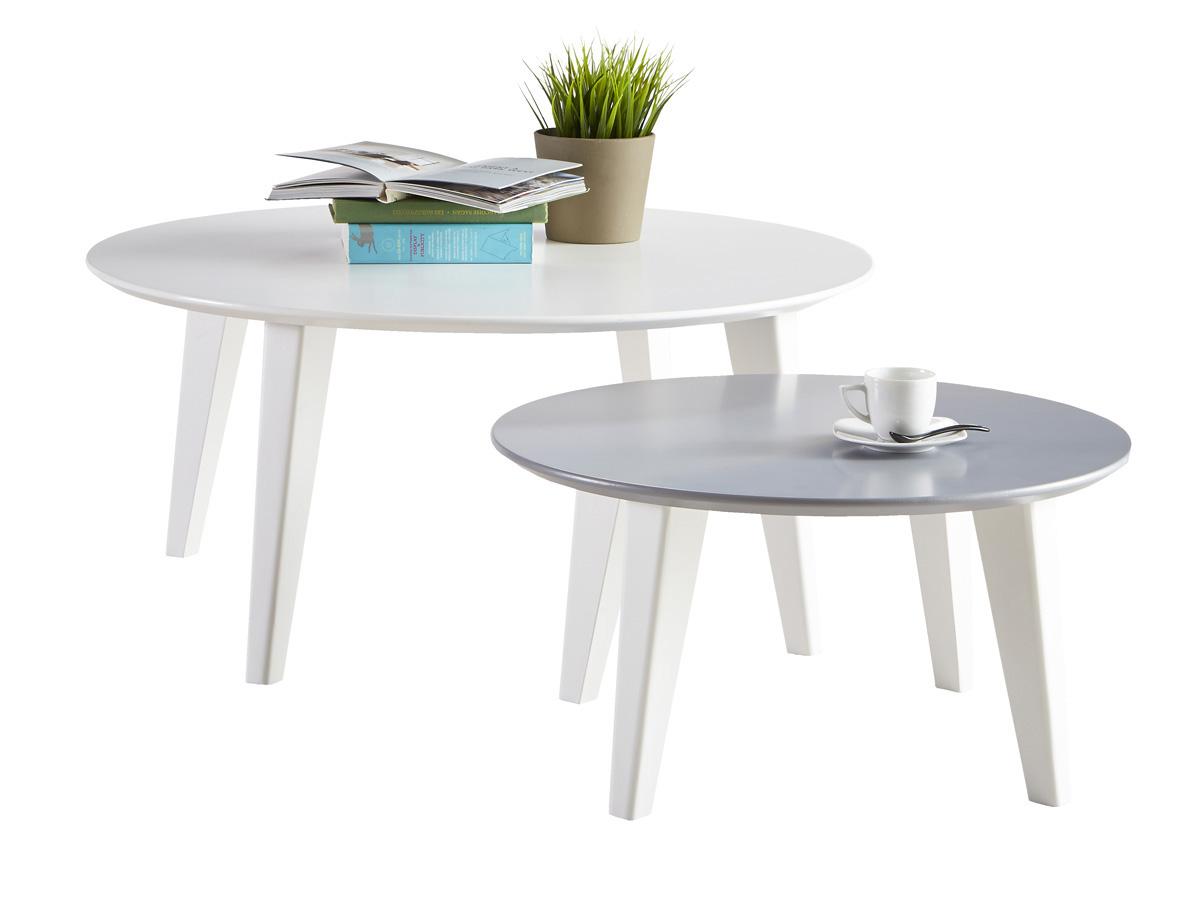 Lot de 2 tables basses Round set - 78 x 78 x 35 cm - Blanc/Gris
