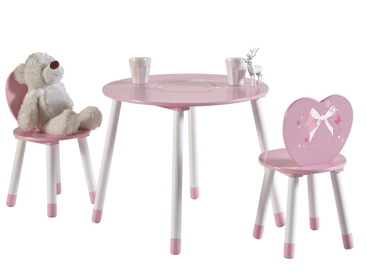 set table 2 chaises enfant butterfly blanc rose 68526. Black Bedroom Furniture Sets. Home Design Ideas