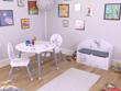 """Set table + 2 chaises """"Bear"""" - 60 x 50 x 60 cm - Coloris blanc et gris"""
