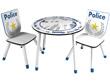 """Set table + 2 chaises """"Police"""" - 60 x 50 x 60 cm - Coloris bleu/blanc"""