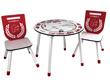 """Set table + 2 chaises """"Pompier"""" - 60 x 50 x 60 cm - Coloris rouge/blanc"""