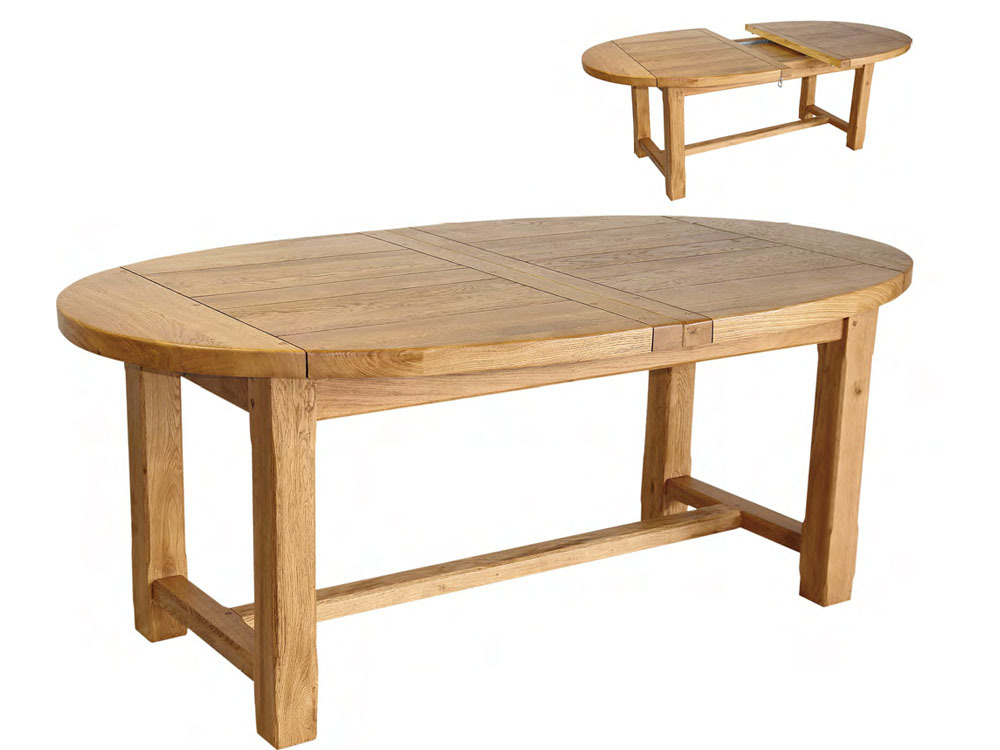 Table ovale bois massif rallonge for Table en bois massif extensible