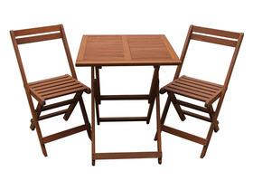 Salon de jardin en bois exotique Hanoï - Table pliante carrée 60 cm + 2 chaises pliantes