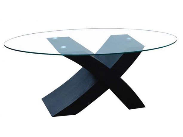 Table basse ovale blues mdf verre tremp placage - Table basse ovale en verre ...