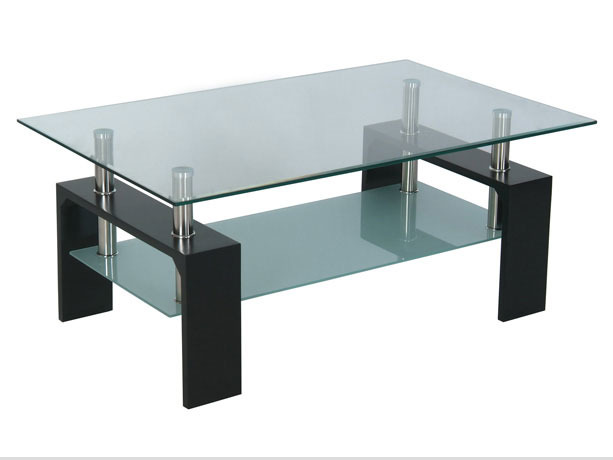 Table basse rectangulaire lev mdf verre tremp - Table salon verre trempe ...
