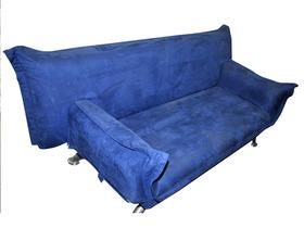 Canap clic clac 2 places tissu bleu sans pied 37832 - Taille d un clic clac ...