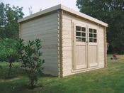"""Abri jardin """"Brest"""" - 9.28 m² - 3.08 x 3.01 m - 28 mm."""
