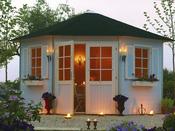 """Abri jardin pentagone """"Nancy"""" - 10.72 m² - 4.89 x 3.46 x 2.82 m - 28 mm"""