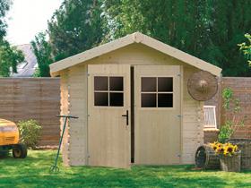 Abri de jardin - 8.44 m² - 3.44 x 2.45 x 2.32 m - 28 mm.