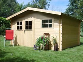 Abri jardin bois - 17,47 m² - 4.11 x 4.25 x 2.32 m - 28 mm.