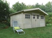 Abri jardin - 15.55 m² - 4.64 x 3.34 x 2.32 m - 28 mm.