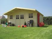 """Abri jardin bois """"Vevey"""" - 28.71 m² - 5.45 x 5.26 x 2.53 m - 28 mm"""