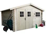 Abri de jardin - 9.54 m² - 3.47 x 2.75 x 2,32 m - 28 mm.
