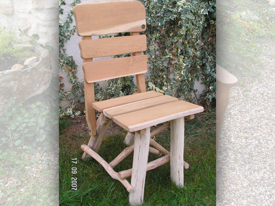 Chaise jardin - Bois naturel - Lot de 2