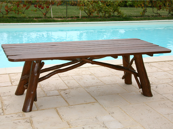 Table de jardin - dimensions : L 160 x P 85 x H 73 cm
