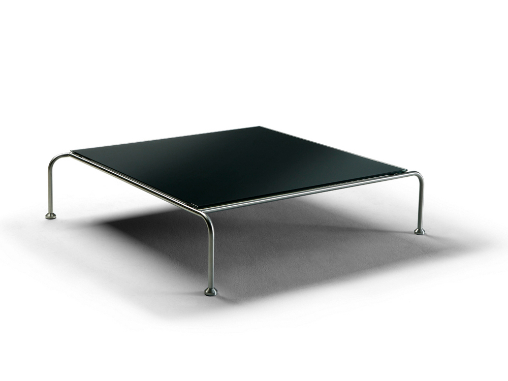 table basse carr e en inox bross verre tremp et c ramique opaque 29762. Black Bedroom Furniture Sets. Home Design Ideas