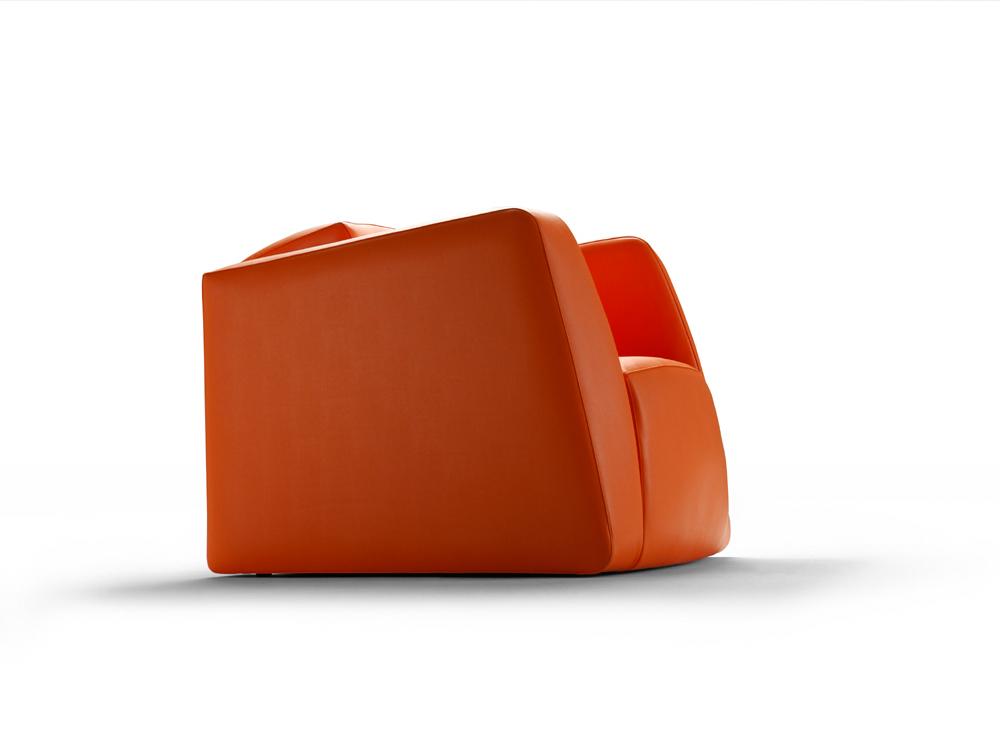 Fauteuil contemporain cuir toon orange 29742 29747 for Canape cuir orange contemporain