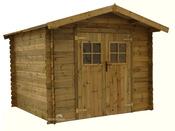 """Abri jardin bois traité """"Loann"""" - 9, 76 m² - 3.14 x 3.11 x 2.4 m - 28m"""