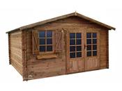 """Abri jardin bois traité """"Zahora"""" - 15.84 m² - 2.47 x 4.00 x 4.00 m - 28 mm"""