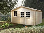 "Abri jardin bois  ""Medyne"" - 16.24 m² - 4.05 x 4.01 x 2.35 m - 34 mm"