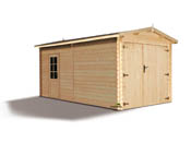 "Garage bois ""Atlanta""- 15.49 m² - 3.11 x 5.40 x 2.67 m - 28 mm"