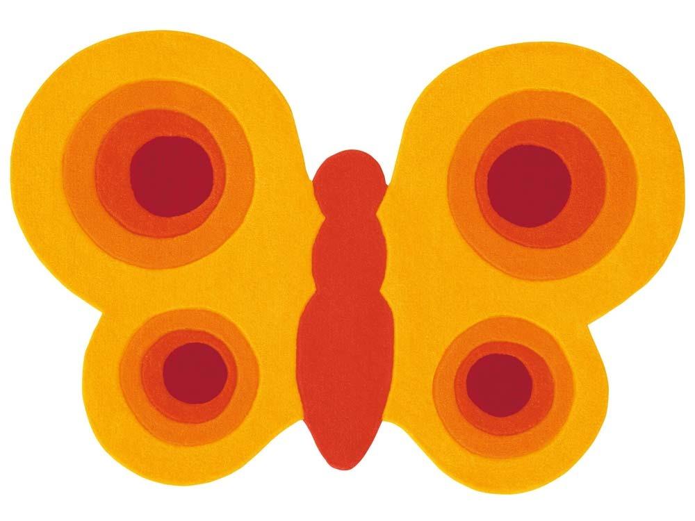 tapis enfant papillon jaune tuft main 90x130cm 47184 52832. Black Bedroom Furniture Sets. Home Design Ideas