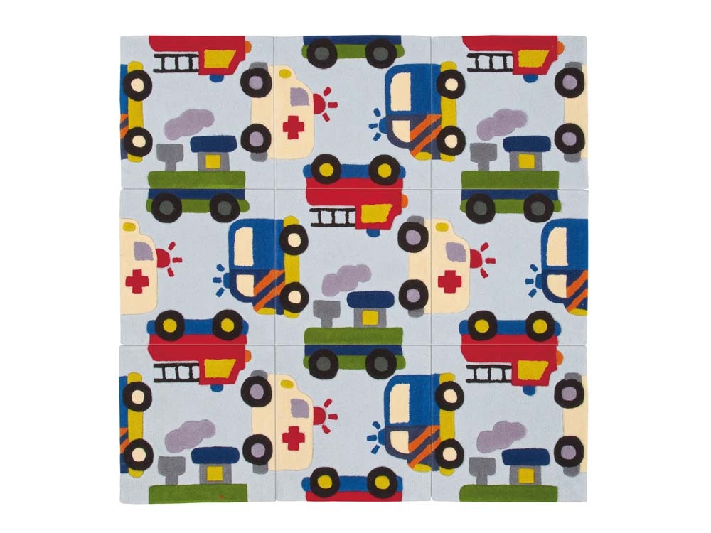 tapis enfant voiture tuft main 150x150cm 52820. Black Bedroom Furniture Sets. Home Design Ideas