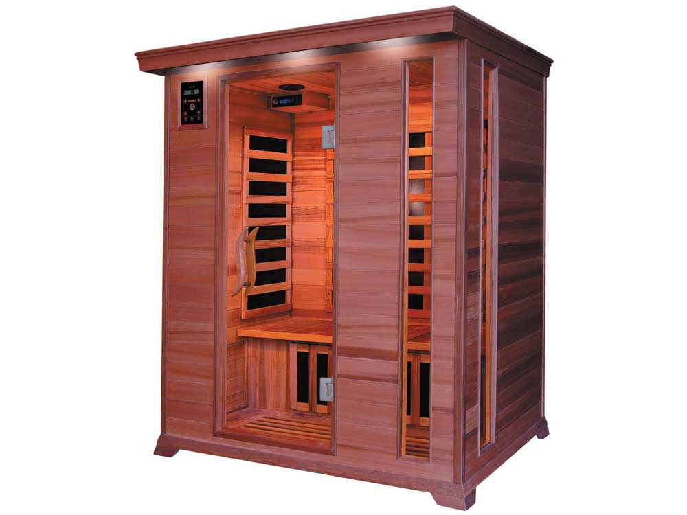 cabine de sauna infrarouge luxe 3 places 153 x 125 x 190. Black Bedroom Furniture Sets. Home Design Ideas