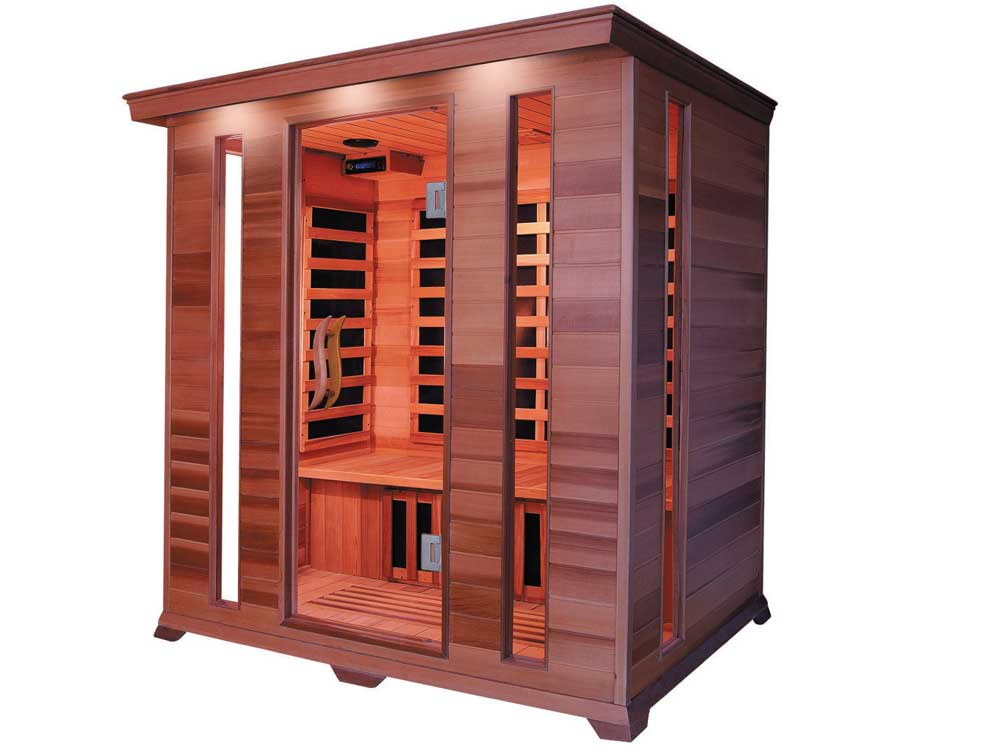 cabine de sauna infrarouge luxe 4 places 190 x 175 x 120 cm 31957 31961. Black Bedroom Furniture Sets. Home Design Ideas
