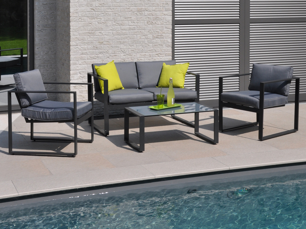 salon de jardin bas en aluminium mekano 2 fauteuils 1 canap 1 table basse 55451. Black Bedroom Furniture Sets. Home Design Ideas