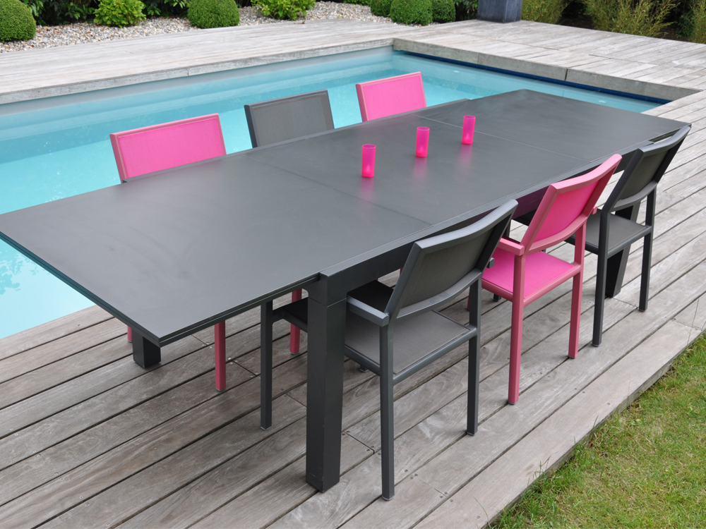 Salon de jardin en aluminium factory 1 table 6 8 assises au c - Table en aluminium exterieur ...