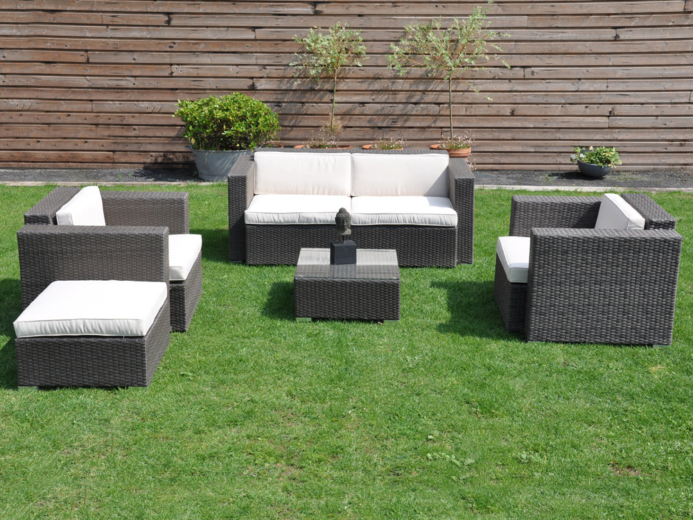 salon de jardin bas mirano canap 2 fauteuils table basse repose pieds 55466. Black Bedroom Furniture Sets. Home Design Ideas