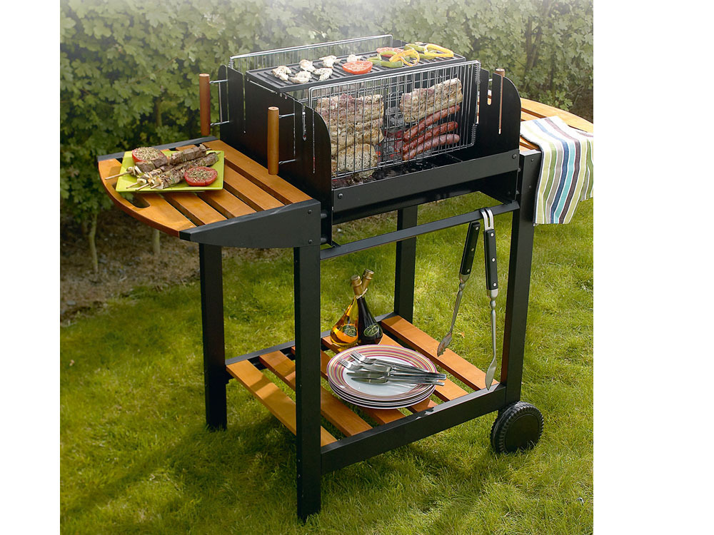 barbecue bois le sunny vertical avec grille rectangle. Black Bedroom Furniture Sets. Home Design Ideas