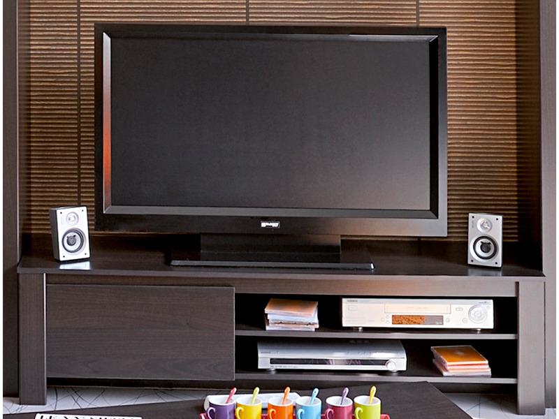 Meuble tv couleur caf 1 niche et 2 tag res 151 x for Habitat meuble tv