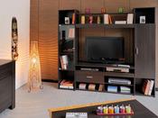 """Paroi TV """"Couleur Café"""" - 191 x 180 x 43 cm - Chocolat"""