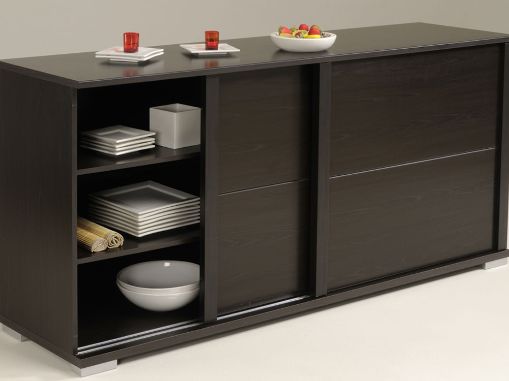buffet enfilade roll en panneaux de particules aspect weng 2 portes coulissantes. Black Bedroom Furniture Sets. Home Design Ideas