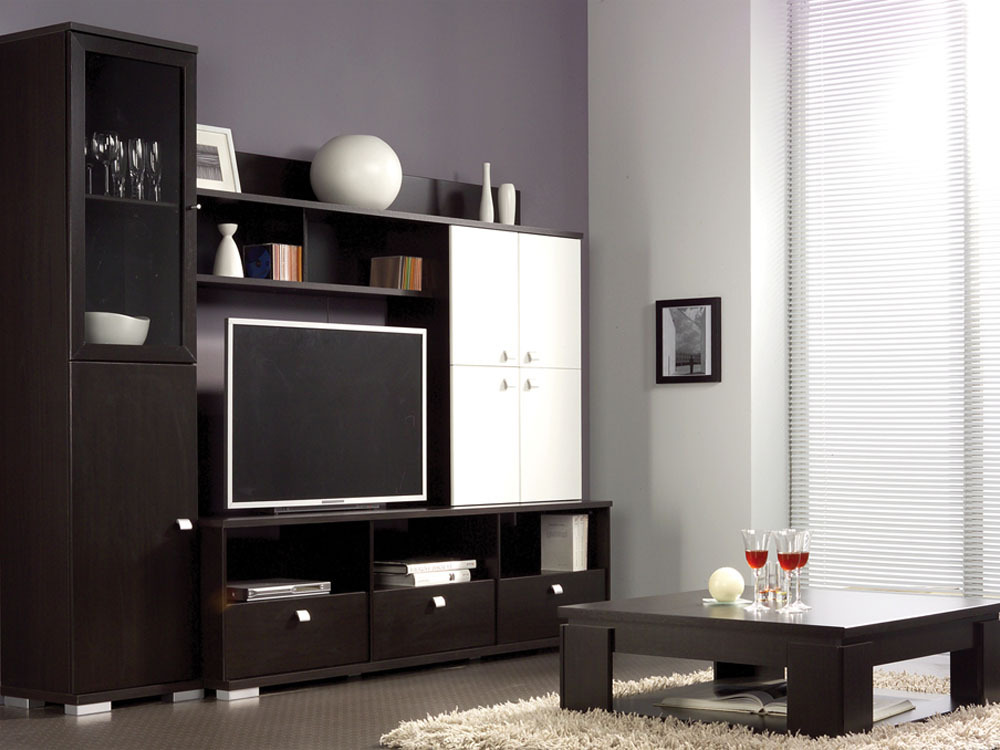 meuble tv roll mdf imitation weng 43411. Black Bedroom Furniture Sets. Home Design Ideas