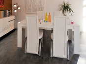 "Table repas ""NY City"" - 88 x 170 x 77 cm - Blanc"