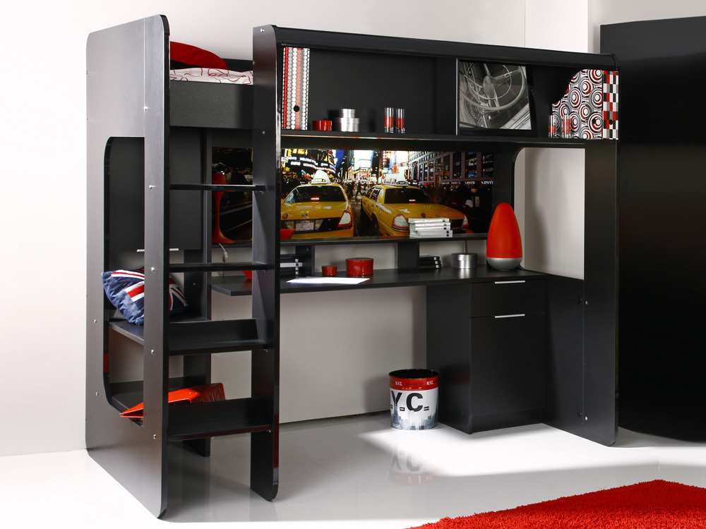 lit mezzanine new york avec bureau int gr noir brillant 54622. Black Bedroom Furniture Sets. Home Design Ideas