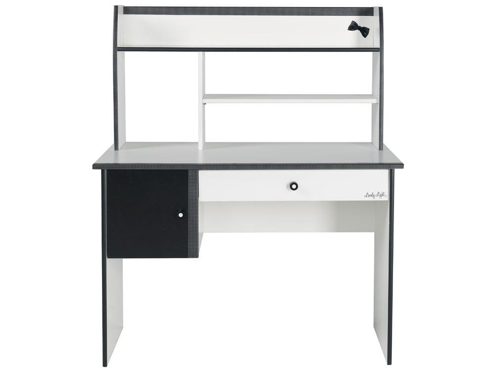 Bureau charlotte blanc meg ve noir multi rangements 54630 - Bureau blanc et noir ...