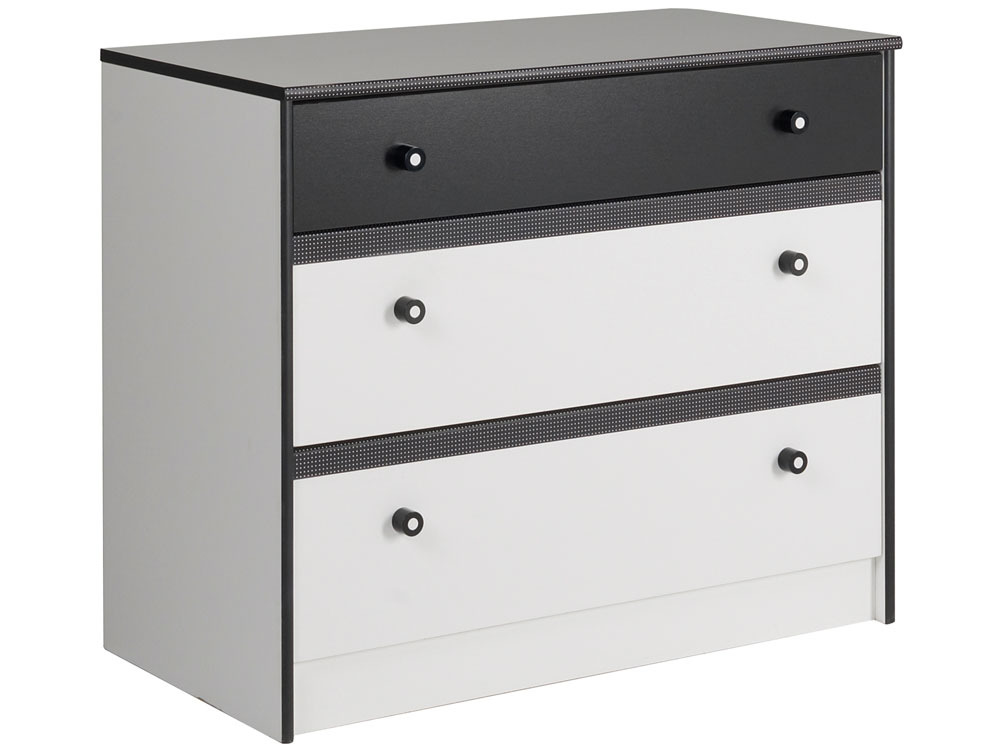 Commode Charlotte - 3 tiroirs - Blanc Megève/noir