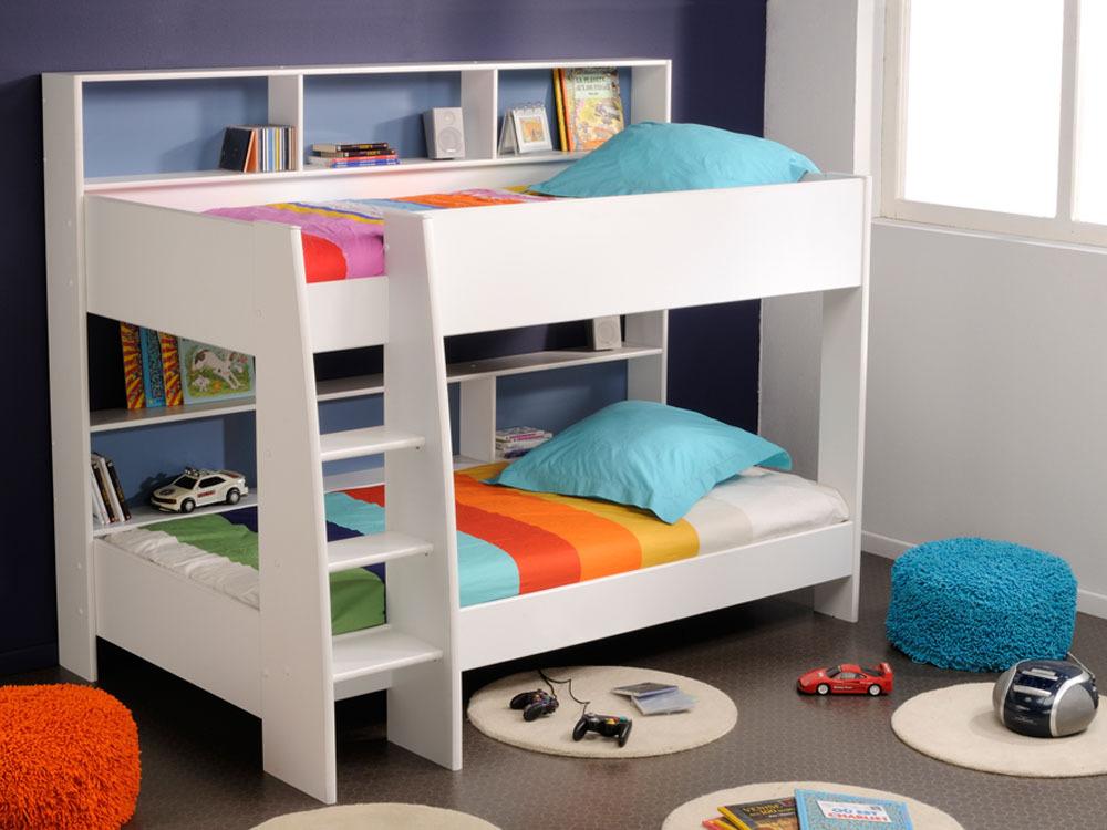 lit superpos th o 209 x 132 x 165 cm blanc meg ve. Black Bedroom Furniture Sets. Home Design Ideas