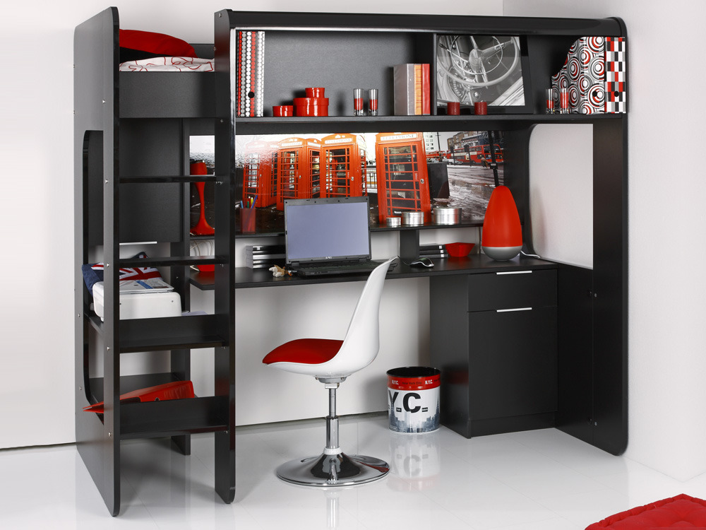 lit mezzanine london avec bureau int gr noir brillant 54620. Black Bedroom Furniture Sets. Home Design Ideas
