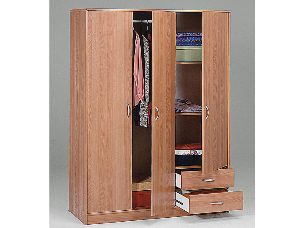 armoire dressing typhon 3 portes 2 tiroirs aspect poirier du japon 43840 43841. Black Bedroom Furniture Sets. Home Design Ideas